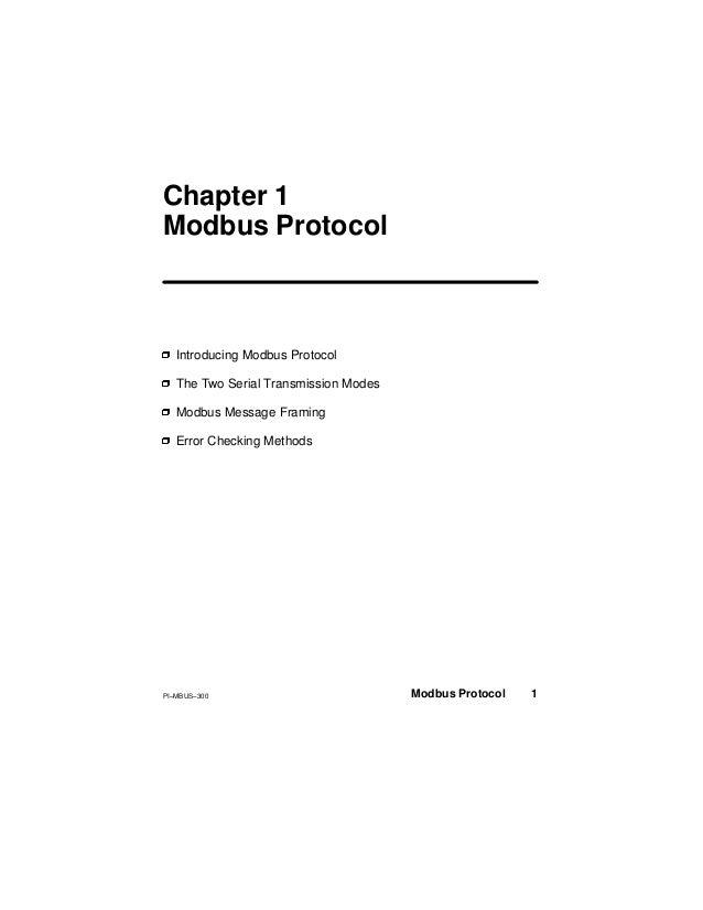 Modicon Modbus Protocol, Reference Guide
