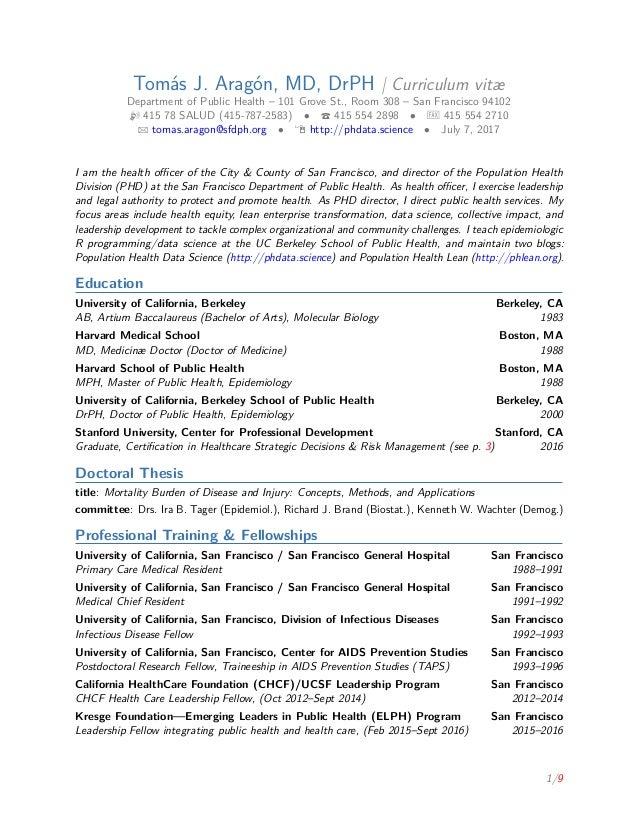 Tomás J. Aragón, MD, DrPH | Curriculum Vitæ Department Of Public Health ...