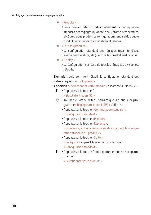 4 Réglages durables en mode de programmation  UU «Produits» UUVous  UU UU  pouvez rétablir individuellement la configur...
