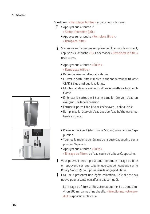 5Entretien  Condition :«Remplacez le filtre.» est affiché sur le visuel.  O TAppuyez sur la touche P. «Statut d...