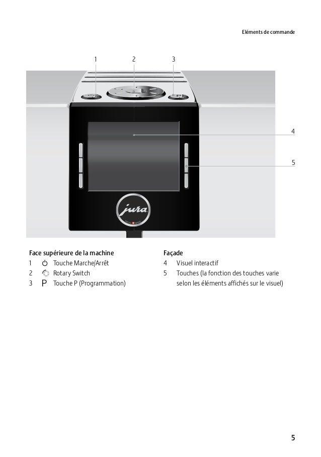 Eléments de commande  1  2  3  4  5  Face supérieure de la machine 1 Q Touche Marche/Arrêt 2 g Rotary Switch 3 O Tou...