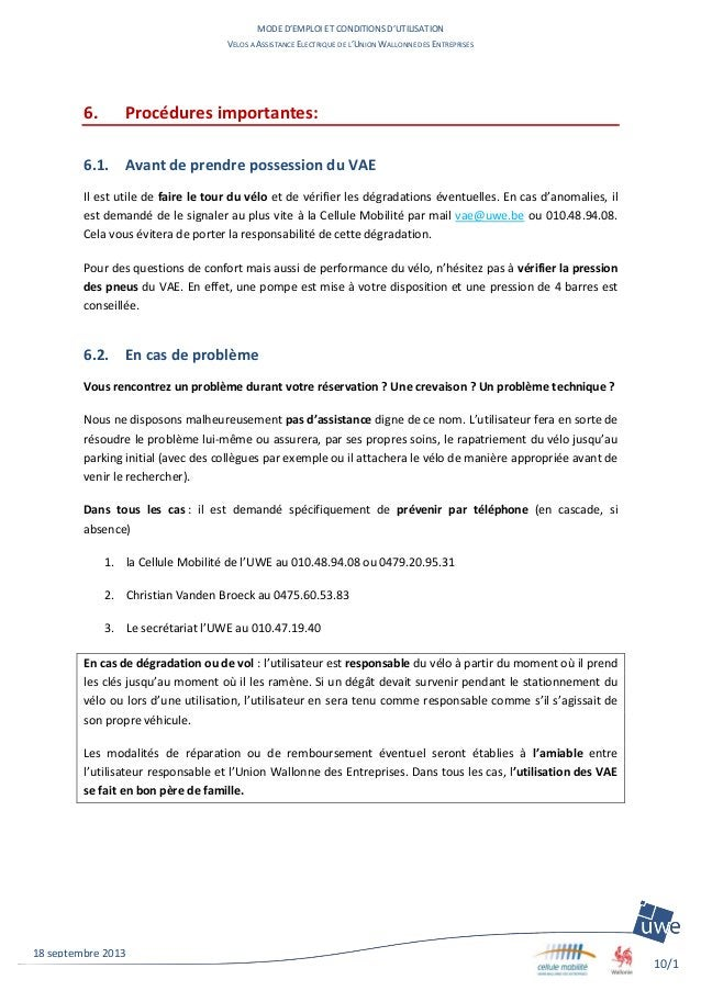 MODE D'EMPLOI ET CONDITIONS D'UTILISATION VELOS A ASSISTANCE ELECTRIQUE DE L'UNION WALLONNE DES ENTREPRISES 10/1 1 18 sept...