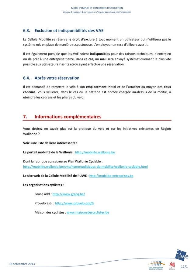 MODE D'EMPLOI ET CONDITIONS D'UTILISATION VELOS A ASSISTANCE ELECTRIQUE DE L'UNION WALLONNE DES ENTREPRISES 11/1 1 18 sept...