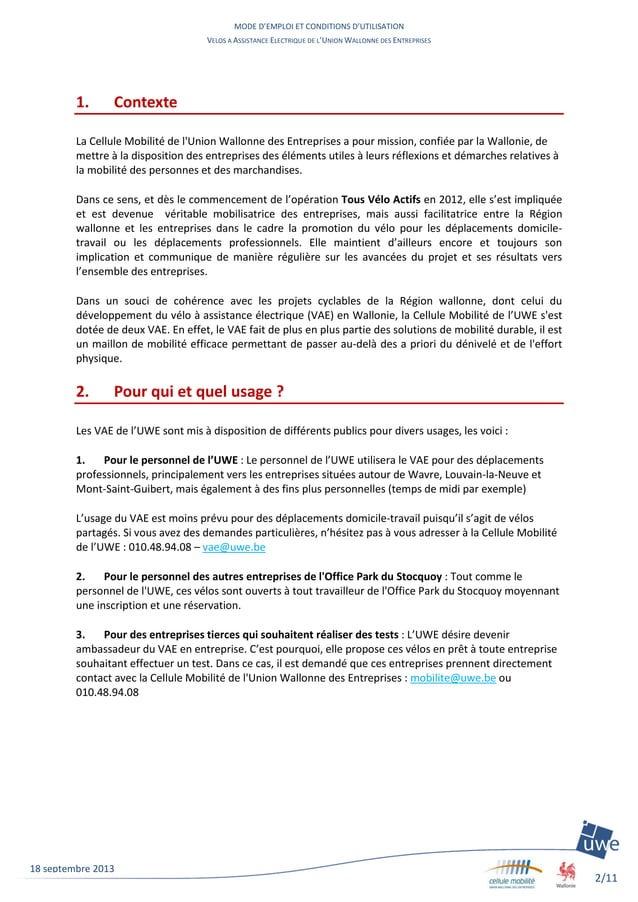 MODE D'EMPLOI ET CONDITIONS D'UTILISATION VELOS A ASSISTANCE ELECTRIQUE DE L'UNION WALLONNE DES ENTREPRISES 2/11 18 septem...
