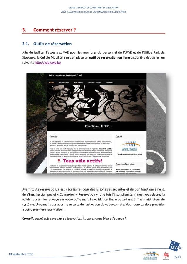 MODE D'EMPLOI ET CONDITIONS D'UTILISATION VELOS A ASSISTANCE ELECTRIQUE DE L'UNION WALLONNE DES ENTREPRISES 3/11 18 septem...