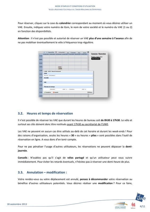MODE D'EMPLOI ET CONDITIONS D'UTILISATION VELOS A ASSISTANCE ELECTRIQUE DE L'UNION WALLONNE DES ENTREPRISES 4/11 18 septem...