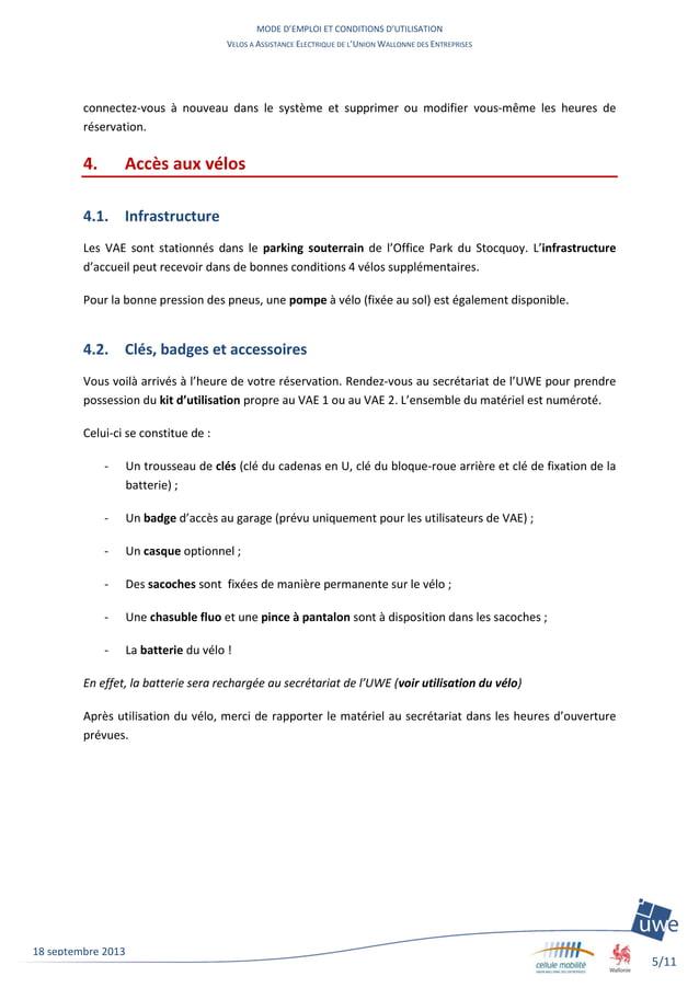 MODE D'EMPLOI ET CONDITIONS D'UTILISATION VELOS A ASSISTANCE ELECTRIQUE DE L'UNION WALLONNE DES ENTREPRISES 5/11 18 septem...