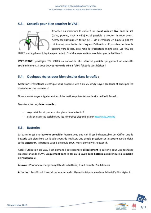 MODE D'EMPLOI ET CONDITIONS D'UTILISATION VELOS A ASSISTANCE ELECTRIQUE DE L'UNION WALLONNE DES ENTREPRISES 7/11 18 septem...