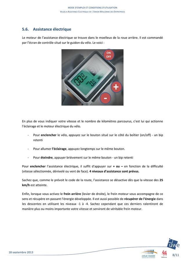 MODE D'EMPLOI ET CONDITIONS D'UTILISATION VELOS A ASSISTANCE ELECTRIQUE DE L'UNION WALLONNE DES ENTREPRISES 8/11 18 septem...