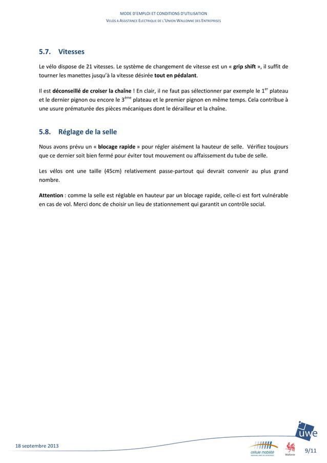 MODE D'EMPLOI ET CONDITIONS D'UTILISATION VELOS A ASSISTANCE ELECTRIQUE DE L'UNION WALLONNE DES ENTREPRISES 9/11 18 septem...
