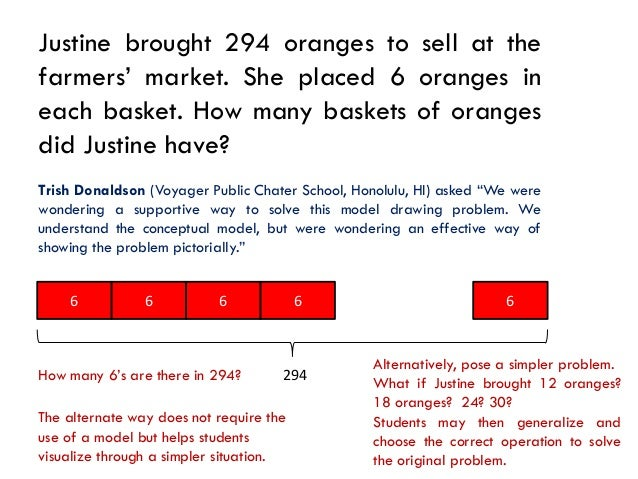 Justine brought 294 oranges to sell at thefarmers' market. She placed 6 oranges ineach basket. How many baskets of oranges...