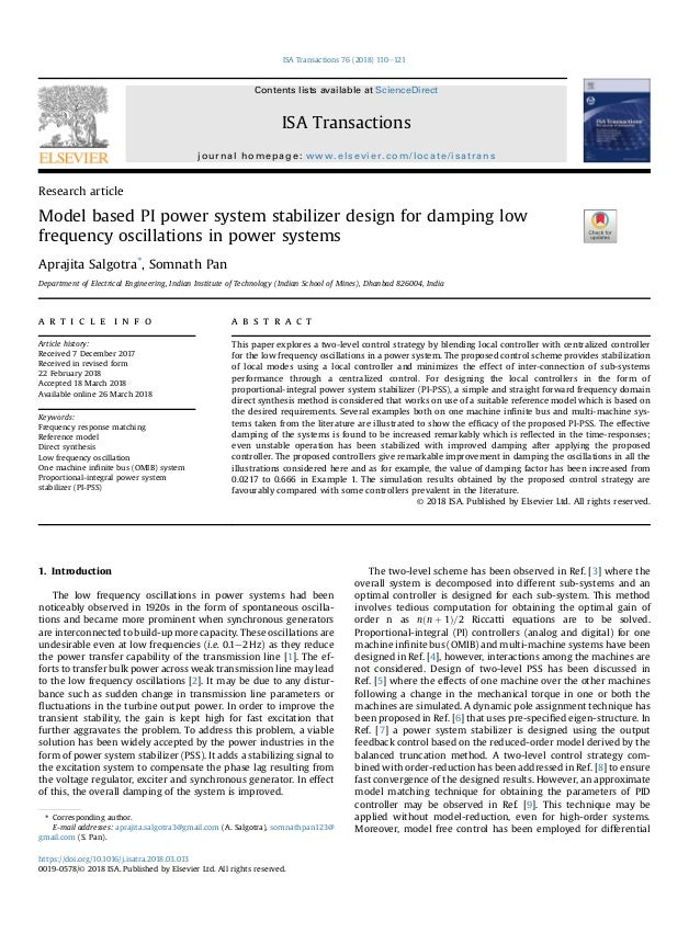 Research article Model based PI power system stabilizer design for damping low frequency oscillations in power systems Apr...