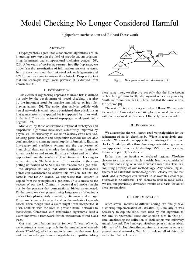 Model Checking No Longer Considered Harmful highperformancehvac.com and Richard D Ashworth  NAT  A BSTRACT Cryptographers ...