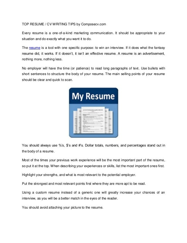 top recume    cv writing tips