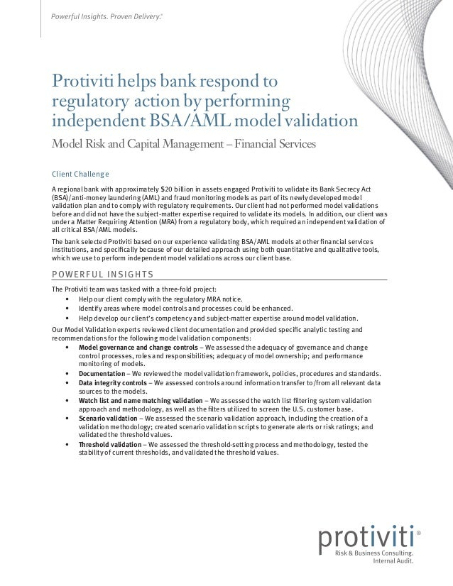 Protiviti helps bank respond to regulatory action by performing independent BSA/AML model validation Model Risk and Capita...