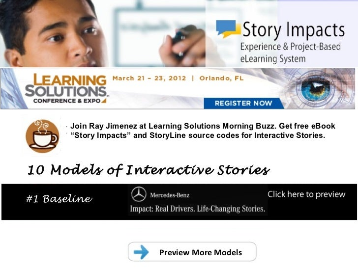 """.       Join Ray Jimenez at Learning Solutions Morning Buzz. Get free eBook       """"Story Impacts"""" and StoryLine source cod..."""