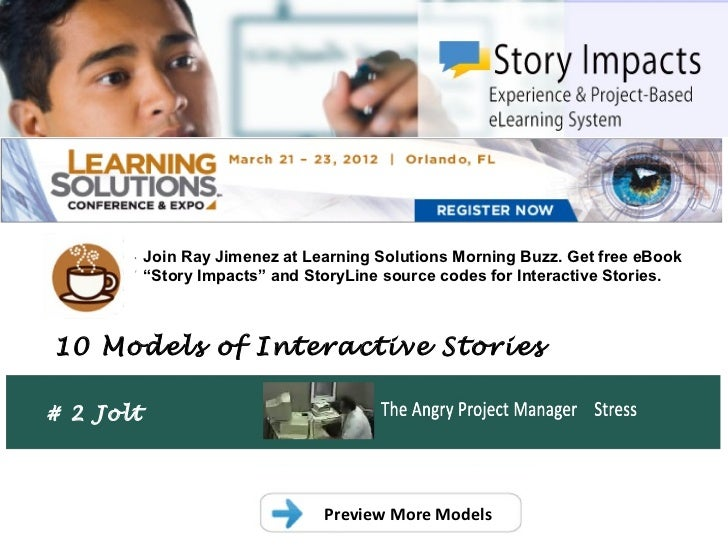 ".           Join Ray Jimenez at Learning Solutions Morning Buzz. Get free eBook           ""Story Impacts"" and StoryLine so..."