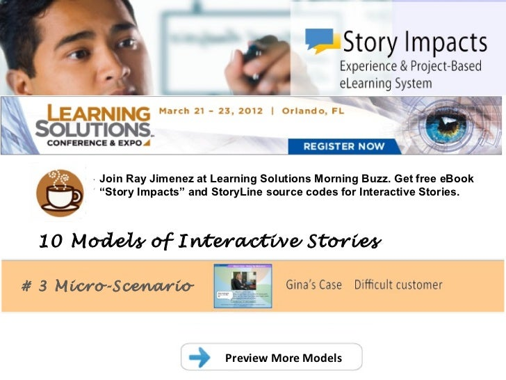 """.        Join Ray Jimenez at Learning Solutions Morning Buzz. Get free eBook        """"Story Impacts"""" and StoryLine source c..."""