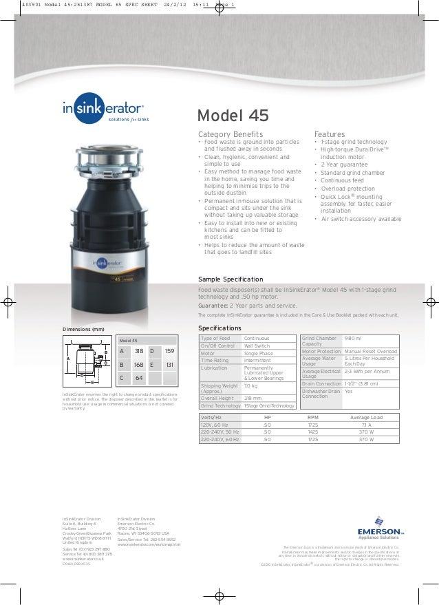 Insinkerator Model 45 Food Waste Disposer