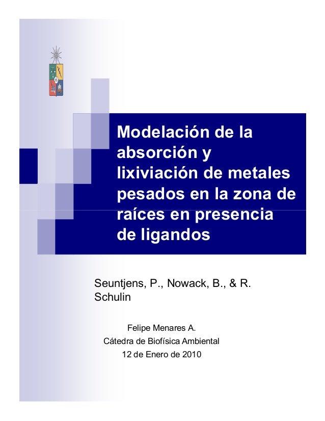 Modelación de la absorción y lixiviación de metales pesados en la zona de raíces en presenciaraíces en presencia de ligand...
