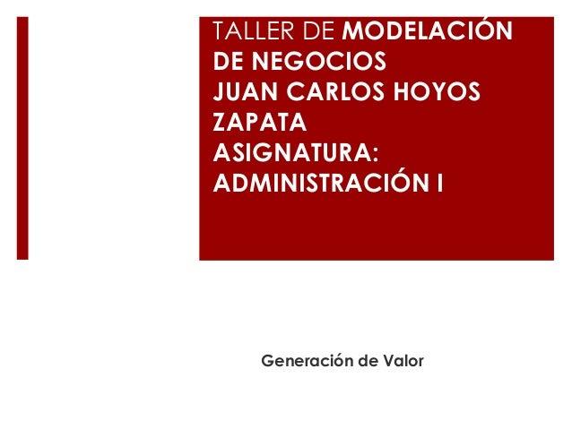 TALLER DE MODELACIÓN DE NEGOCIOS JUAN CARLOS HOYOS ZAPATA ASIGNATURA: ADMINISTRACIÓN I Generación de Valor