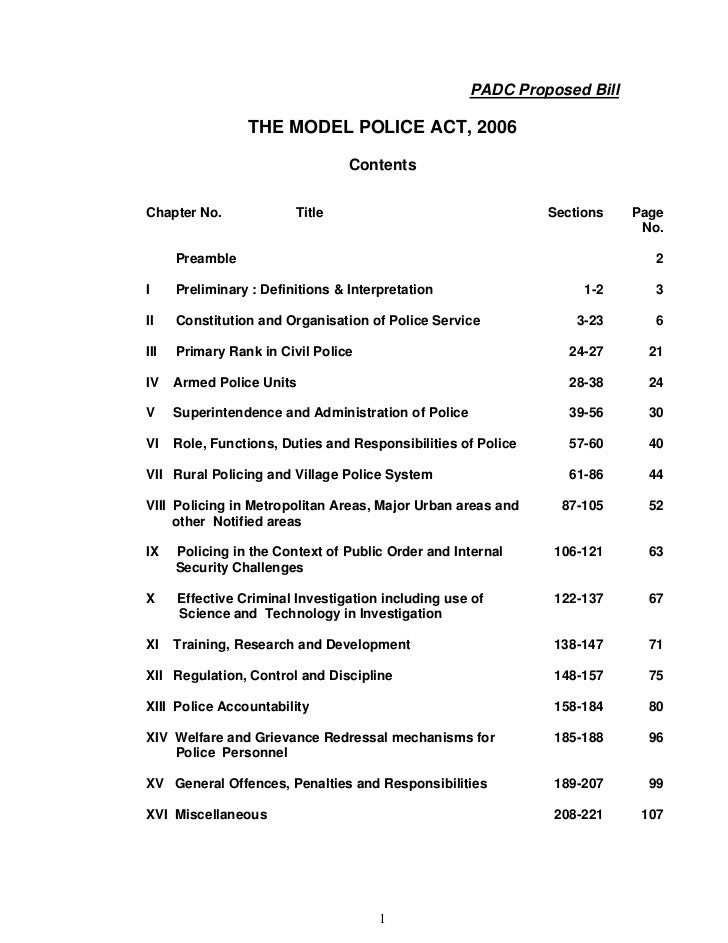 PADC Proposed Bill                 THE MODEL POLICE ACT, 2006                                  ContentsChapter No.        ...