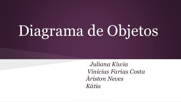 Diagrama de Objetos  Juliana Kiwia  Vinícius Farias Costa  Àriston Neves  Kátia