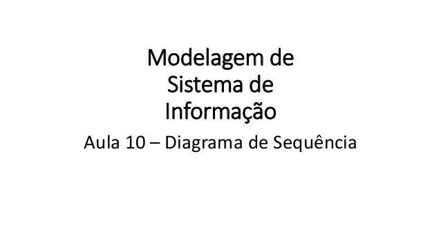 Modelagem de Sistema de Informação Aula 10 – Diagrama de Sequência