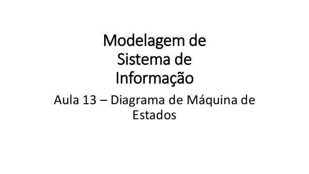 Modelagem de Sistema de Informação Aula 13 – Diagrama de Máquina de Estados