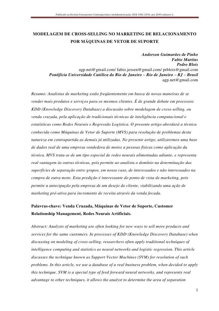 Publicado na Revista Pensamento Contemporâneo emAdministração, ISSN 1982-2596, ano 2009, número 5.     MODELAGEM DE CROSS-...