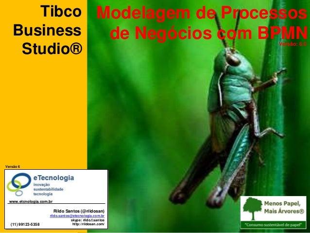 Modelagem de Processos de Negócios com BPMNVersão: 6.0 Tibco Business Studio® Versão 6 Rildo Santos (@rildosan) rildo.sant...