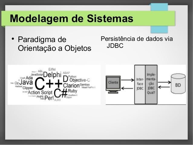 Modelagem de Sistemas  Paradigma de Orientação a Objetos Persistência de dados via JDBC