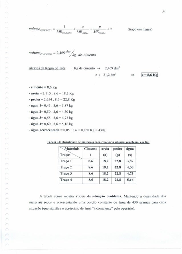 54 a p volume CONCRETO = ---- + +--=--- +x MECJMENTOME AREJA ME PEDRA (traço em massa) I dm%vo umeCONCRETO = 2,469 k d. .,...
