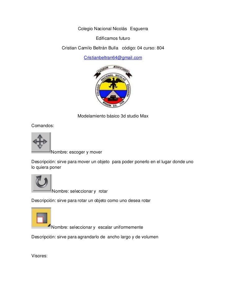 Colegio Nacional Nicolás Esguerra                                Edificamos futuro               Cristian Camilo Beltrán B...