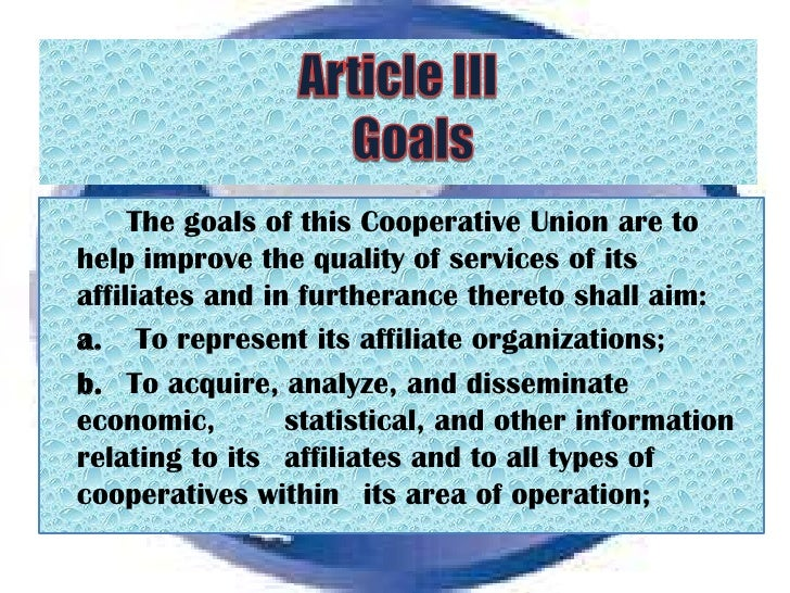 articles of cooperation Know about the cooperative development authority and its work learn about the status of the cooperative sector in the philippines model articles of cooperation - federation model articles of cooperation - union model by laws - federation.
