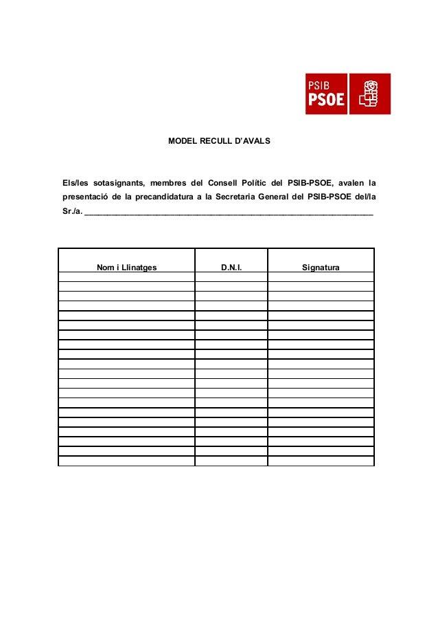 MODEL RECULL D'AVALS Els/les sotasignants, membres del Consell Polític del PSIB-PSOE, avalen la presentació de la precandi...