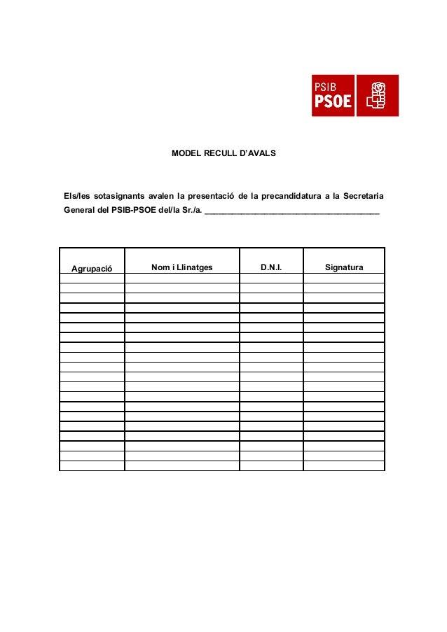 MODEL RECULL D'AVALS Els/les sotasignants avalen la presentació de la precandidatura a la Secretaria General del PSIB-PSOE...