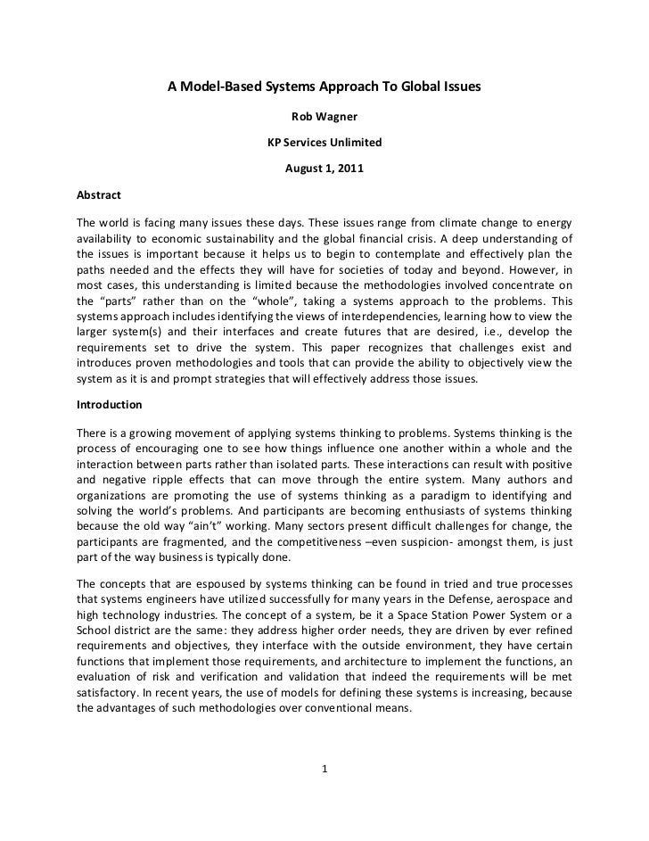 A Model-Based Systems Approach To Global Issues                                          Rob Wagner                       ...