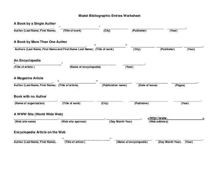 Mla Citation Worksheet Middle School Sacofservicios Com