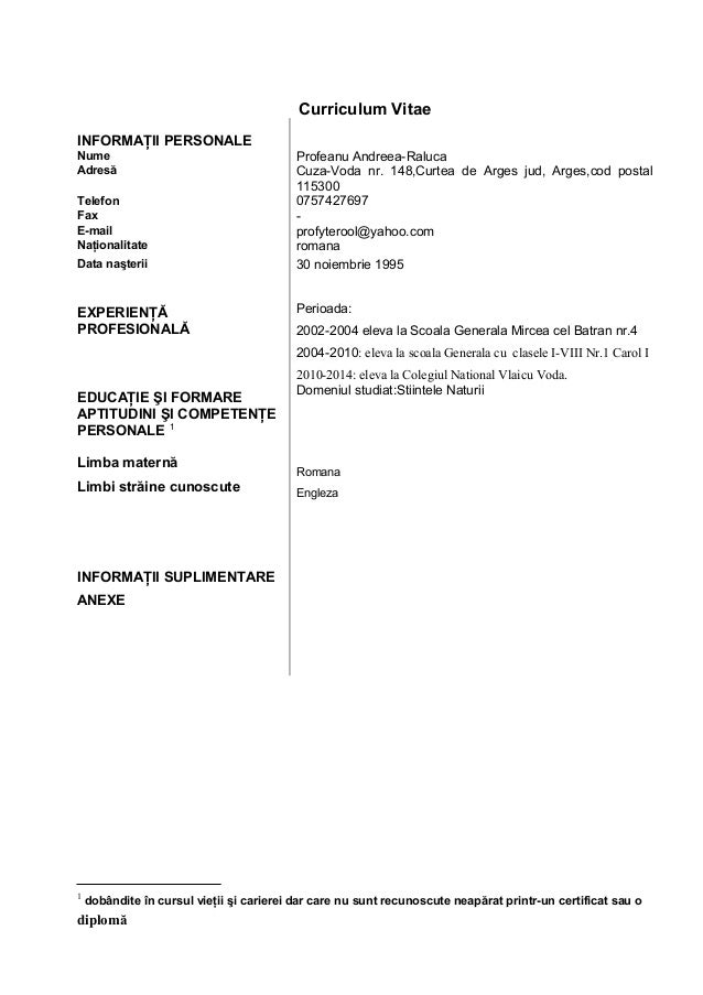 curriculum vitae exemple in limba romana - cv lab softwareliber ro download