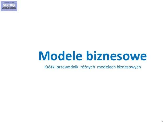 1 Modele biznesowe Krótki przewodnik różnych modelach biznesowych