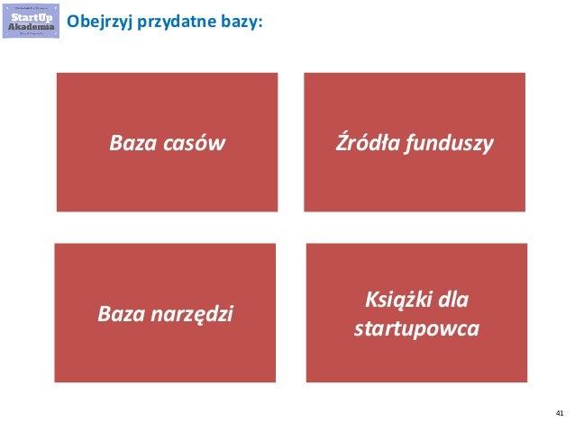 41 Źródła funduszy Baza narzędzi Książki dla startupowca Baza casów Obejrzyj przydatne bazy:
