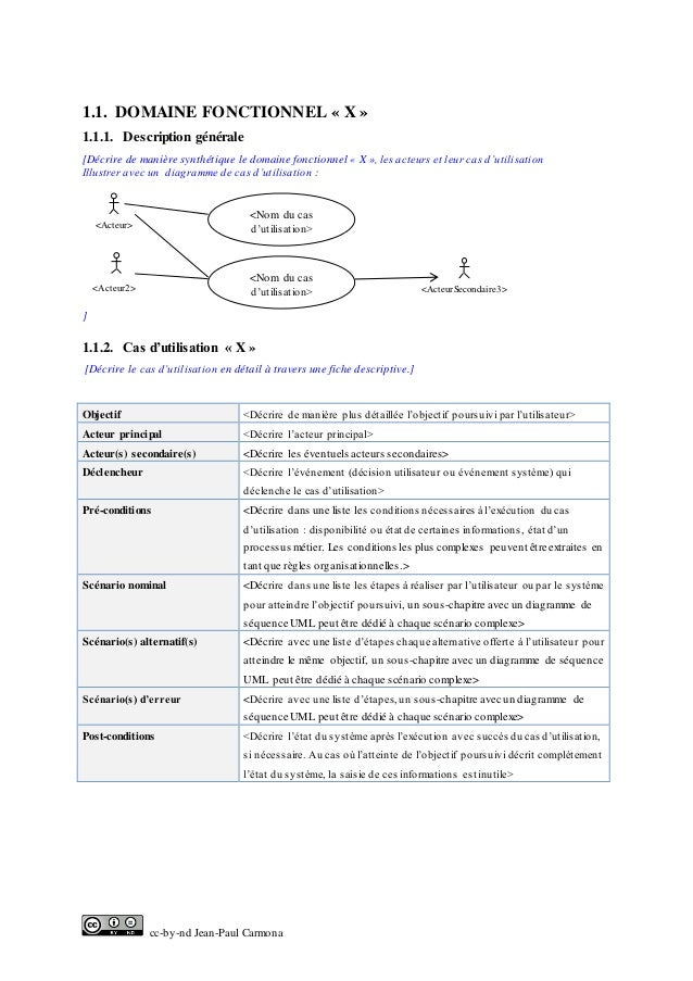 cc-by-nd Jean-Paul Carmona 1.1. DOMAINE FONCTIONNEL « X » 1.1.1. Description générale [Décrire de manière synthétique le d...
