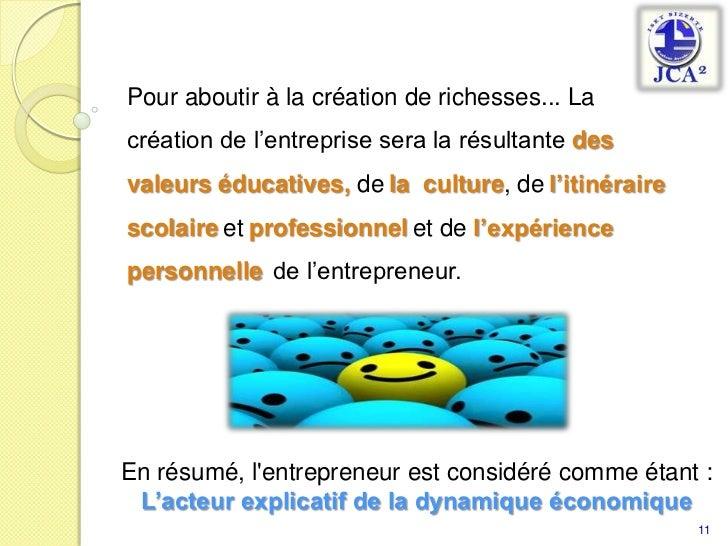 Pour aboutir à la création de richesses... La création de l'entreprise sera la résultante desvaleurs éducatives, dela  cul...