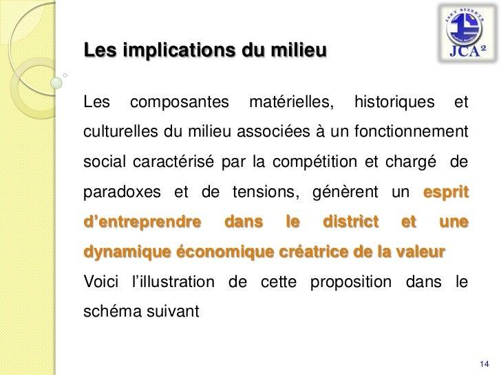 Les implications du milieu<br />Les composantes matérielles, historiques et culturelles du milieu associées à un fonctionn...