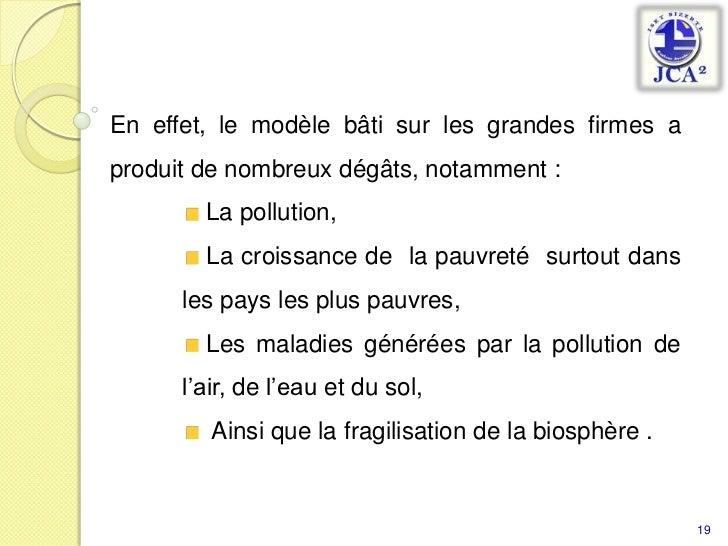 19<br />En effet, le modèle bâti sur les grandes firmes a produit de nombreux dégâts, notamment :<br /> La pollution, <br ...
