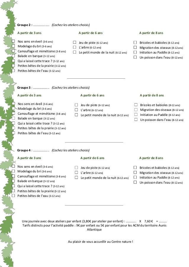 Formulaire de réservation sortie ACM Slide 2