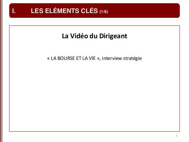 La Vidéo du Dirigeant « LA BOURSE ET LA VIE », interview stratégie 1 I. LES ELÉMENTS CLÉS (1/6)