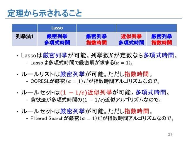定理から示されること • Lassoは厳密列挙が可能。列挙数𝐾が定数なら多項式時間。 - Lassoは多項式時間で厳密解が求まる(𝛼 = 1)。 • ルールリストは厳密列挙が可能。ただし指数時間。 - CORESLが厳密(𝛼 = 1)だが指数時...