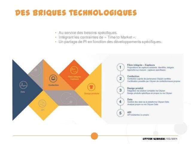 26/03/2014Cityzen Sciences Des briques technologiques • Au service des besoins spécifiques. • Intégrant les contraintes de...